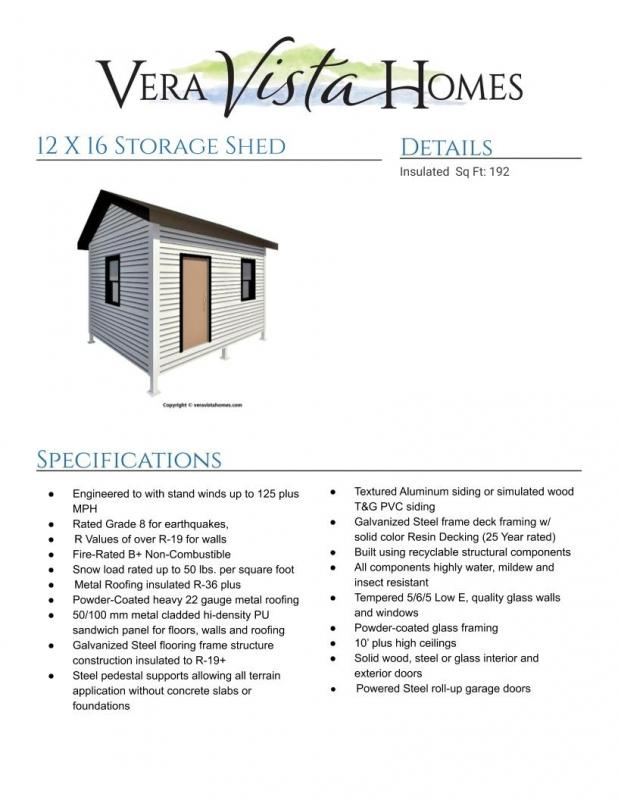 Download The 12 X 16 Storage Shed Floor Plan Vera Vista Homes